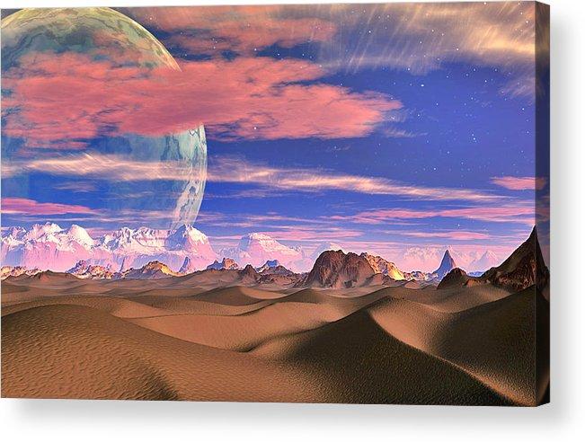David Jackson Ghost World Alien Landscape Planets Scifi Acrylic Print featuring the digital art Ghost World by David Jackson