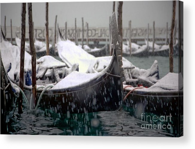 Venice Acrylic Print featuring the photograph Gondolas In Venice In The Snow by Michael Henderson