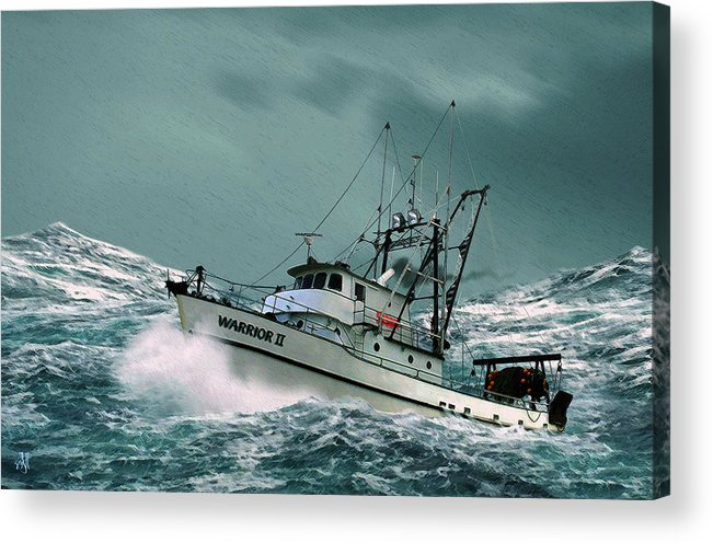 Fishing Vessel In A Rough Sea. Acrylic Print featuring the digital art Heading For Shelter by John Helgeson