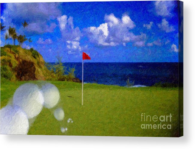Hole In One 18th Green Ball Flag Green Ocean Palm Trees Acrylic Print featuring the photograph Fantastic 18th Green by David Zanzinger