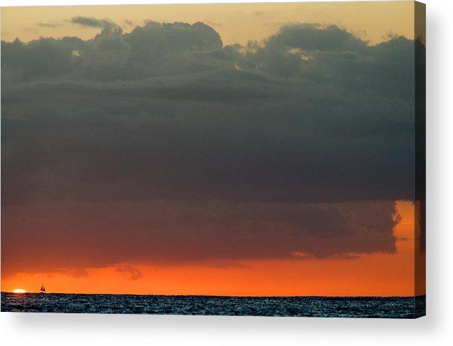 Hawaii Acrylic Print featuring the photograph Honolulu Sunset by Brad Rickerby