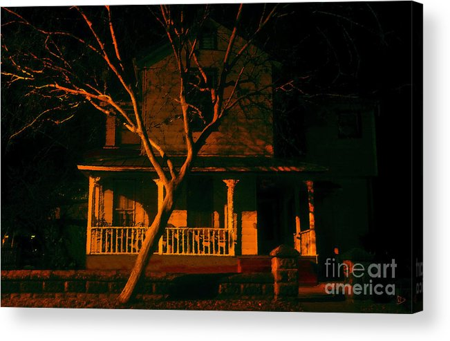 Haunted House Acrylic Print featuring the painting House On Haunted Hill by David Lee Thompson
