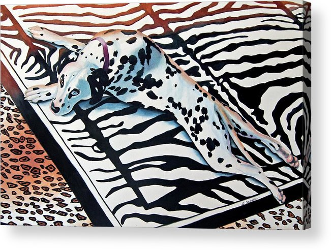 Animal/dog/dalmatian Acrylic Print featuring the painting Incognito by Gail Zavala