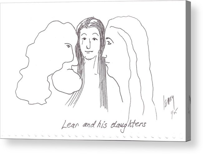 Lear Acrylic Print featuring the drawing Lear And His Daughters by Rod Ismay