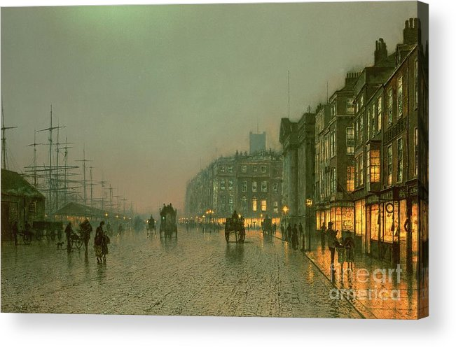 Liverpool Docks From Wapping Acrylic Print featuring the painting Liverpool Docks From Wapping by John Atkinson Grimshaw