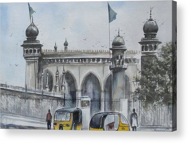 Hyderabad Acrylic Print featuring the painting Living Legend Mecca Mazjid by Mrutyunjaya Dash