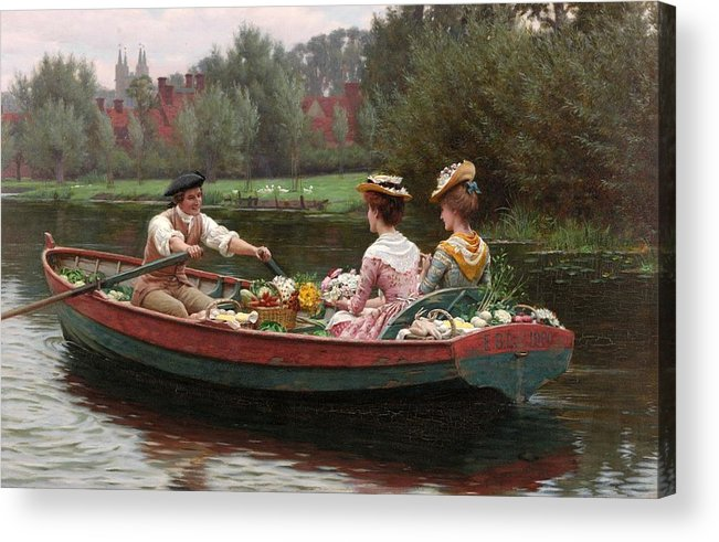 Market Day Acrylic Print featuring the painting Market Day by Edmund Blair Leighton