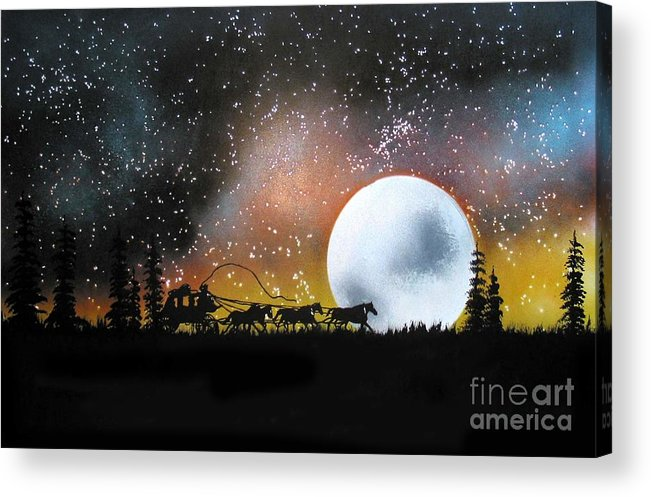St. Louis San Francisco Stage Night Moon Stars Silouette Acrylic Print featuring the painting Midnight Run - St. Louis To San Francisco by Ed Moore