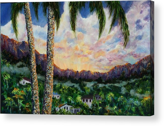 Landscape Hawaii Acrylic Print featuring the painting Miller's View by Thomas Restifo