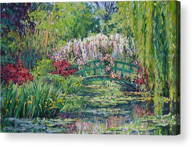 France Acrylic Print featuring the painting Monets Pond In Spring by L Diane Johnson