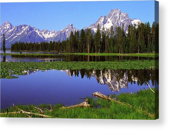 Mount Moran Acrylic Print featuring the photograph Mount Moran Tetons Nat'l Park by Alan Lenk