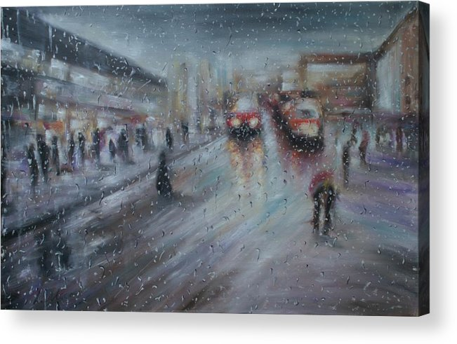 Christmas Acrylic Print featuring the painting Christmas Rain Shopping by Laurel Moore