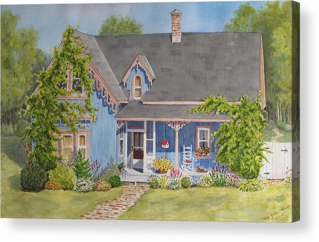 House Acrylic Print featuring the painting My Blue Heaven by Mary Ellen Mueller Legault