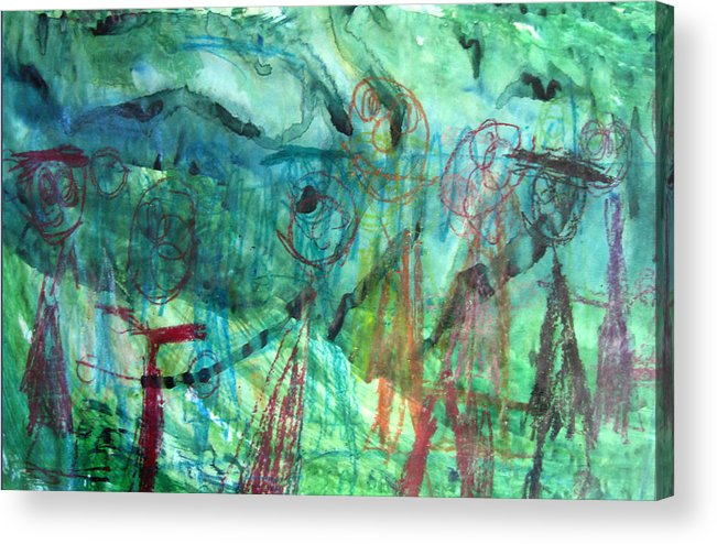 Alfred Resteghini Acrylic Print featuring the mixed media My Family by Alfred Resteghini