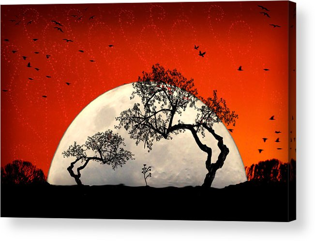Moon Acrylic Print featuring the digital art New Growth New Hope by Holly Kempe