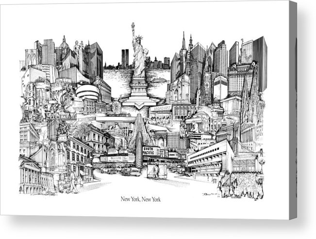 City Drawing Acrylic Print featuring the drawing New York by Dennis Bivens