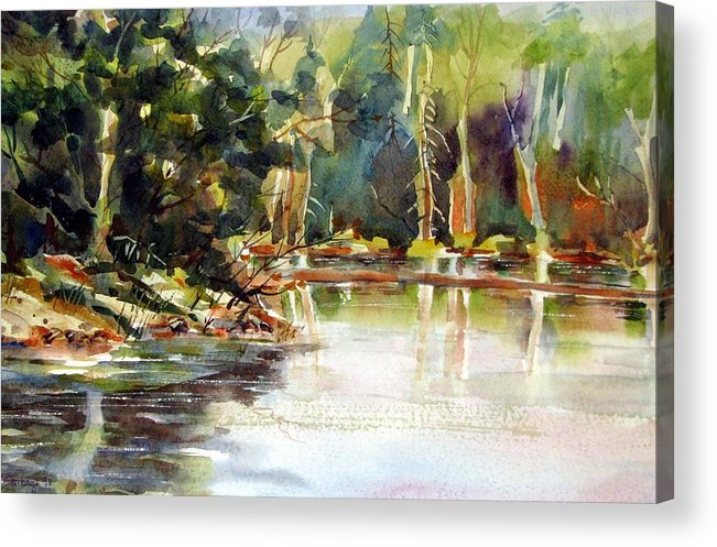 Watercolor Acrylic Print featuring the painting Northern Relflections by Chito Gonzaga