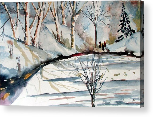 Winter Acrylic Print featuring the painting O Holy Night by Mindy Newman