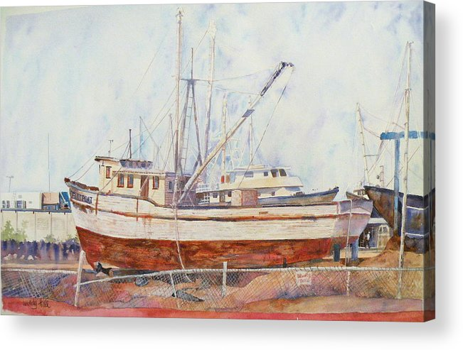 Boat Acrylic Print featuring the painting Oceansport by Wendy Hill
