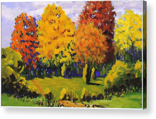 Landscape Acrylic Print featuring the painting October Woods by Jonathan Carter