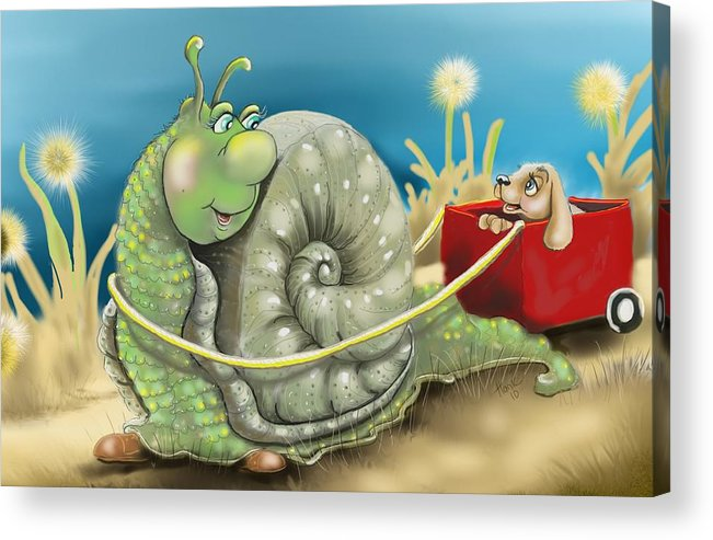 Snail And Puppy. Snail And Puppy Poster Acrylic Print featuring the digital art On The Road To Better Places by Hank Nunes