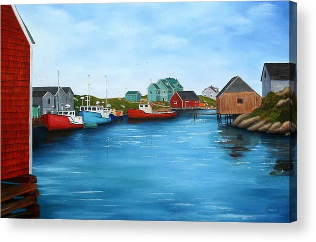 Cove Acrylic Print featuring the painting Peggys Cove Nova Scotia by Sharon Steinhaus