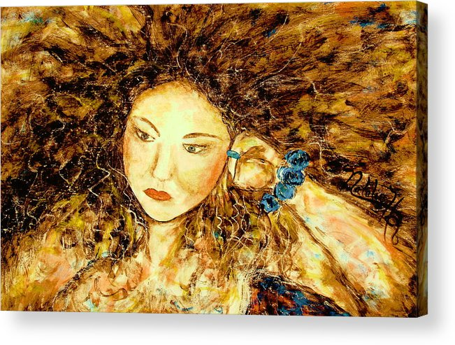 Portrait Acrylic Print featuring the painting Poet by Natalie Holland