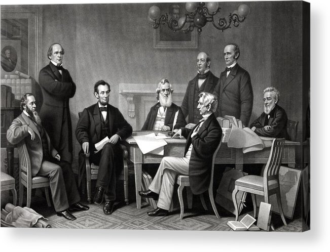 Abraham Lincoln Acrylic Print featuring the drawing President Lincoln And His Cabinet by War Is Hell Store