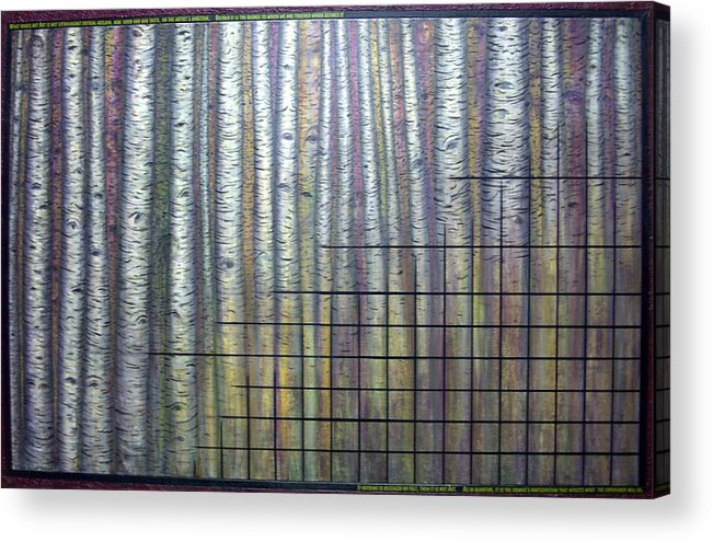 Birch Aspen Tree Quote Science Art Faces Acrylic Print featuring the painting Quantum Edith by Sally Van Driest