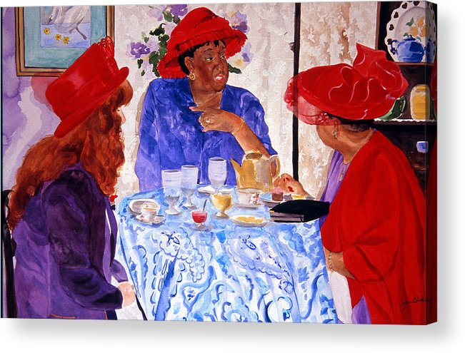 Red Hat Acrylic Print featuring the painting Red Hatters Chatter by Jean Blackmer