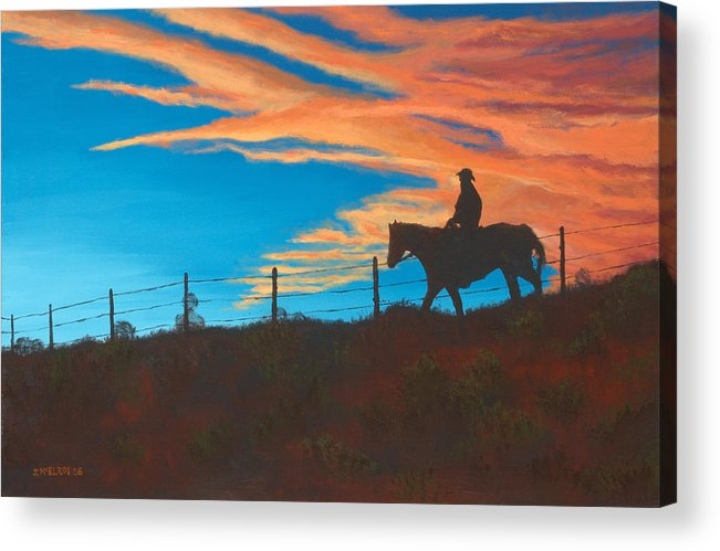 Cowboy Acrylic Print featuring the painting Riding Fence by Jerry McElroy