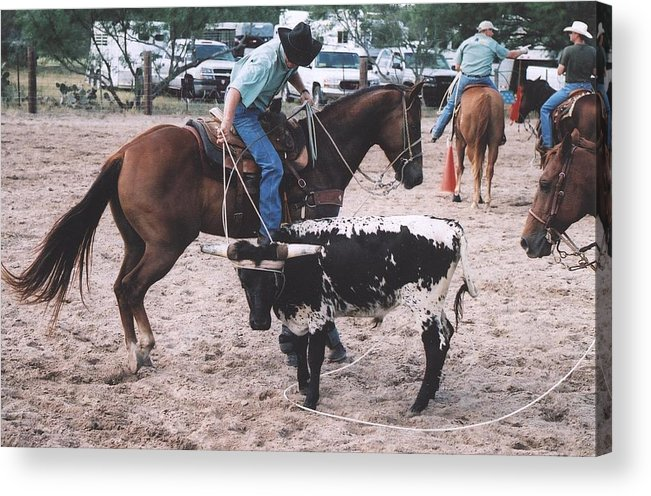 Horse Acrylic Print featuring the photograph Roping Event 1 by Wendell Baggett