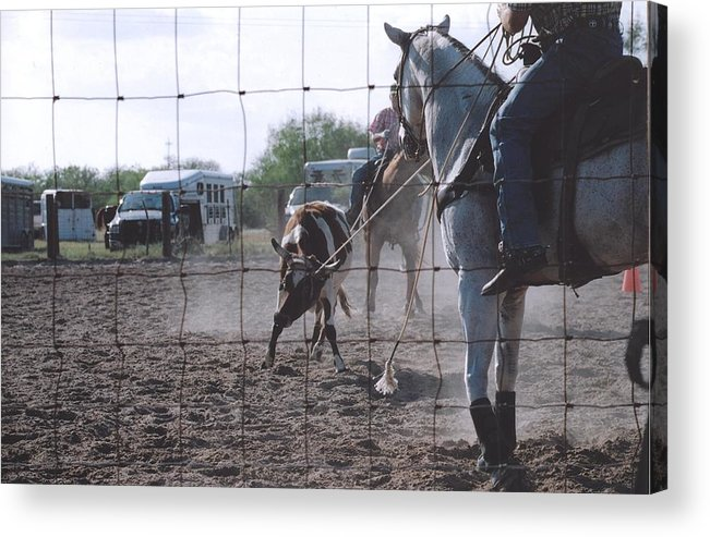 Horse Acrylic Print featuring the photograph Roping Event 5 by Wendell Baggett