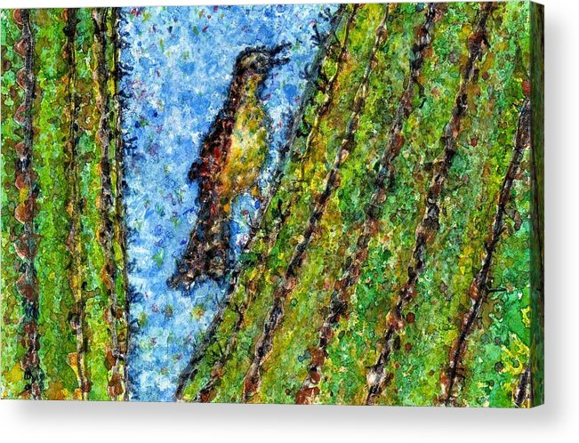 Watercolor Acrylic Print featuring the painting Saguaro Cactus With Woodpecker by Cynthia Ann Swan