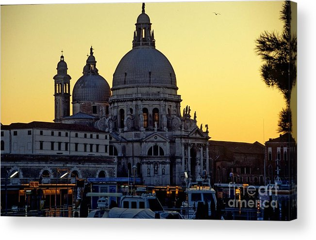 Venice Acrylic Print featuring the photograph Santa Maria Della Salute On Grand Canal In Venice Against The Evening Sky by Michael Henderson
