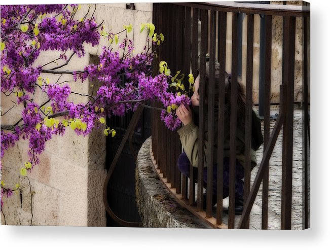 Girl Acrylic Print featuring the photograph Smelling The Flowers by Obi Martinez