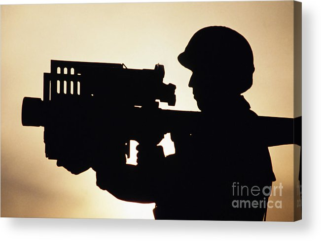 Horizontal Acrylic Print featuring the photograph Soldier Holds A Stinger Anti-aircraft by Stocktrek Images
