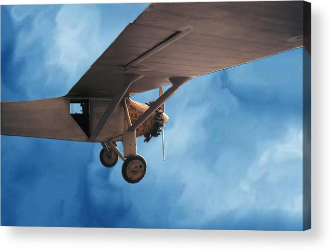 Sky Flight Plane spirit Of Saint Louis Adventure Imagination Dream Acrylic Print featuring the photograph Spirit Of Saint Louis Flys Again by Lawrence Costales