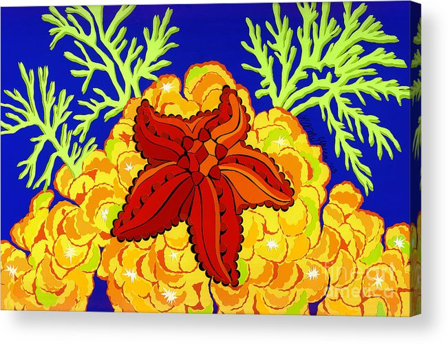 Nature Acrylic Print featuring the drawing Starfish by Lucyna A M Green