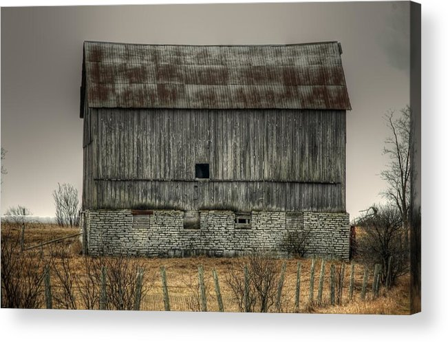 Rcouper Acrylic Print featuring the photograph Stone Foundation Barn by Rick Couper