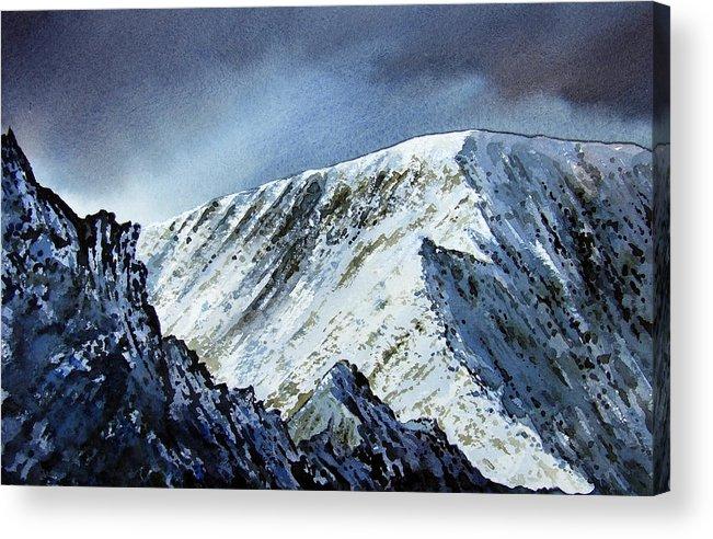 Mountain Acrylic Print featuring the painting Striding Edge On Helvellin by Paul Dene Marlor