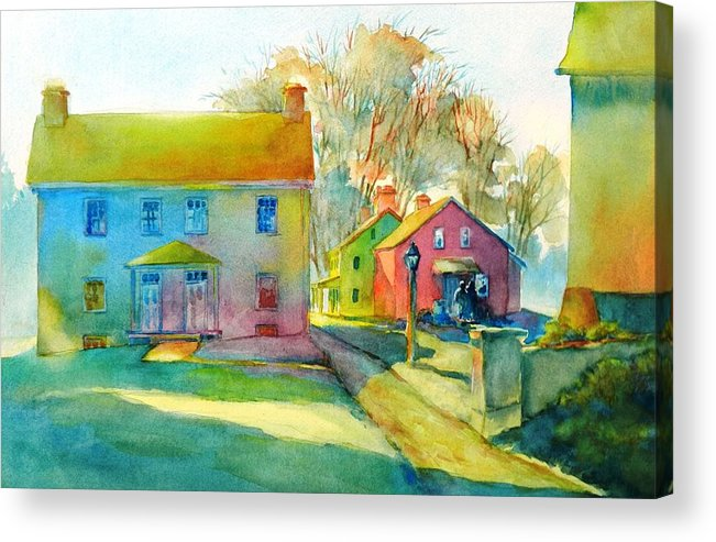Watercolor Acrylic Print featuring the painting Sugartown Shadows No 1 by Virgil Carter