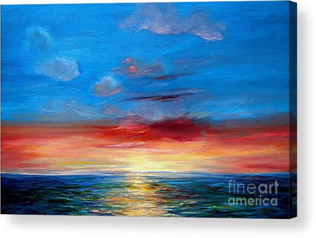 Seasca[e.ainting Acrylic Print featuring the painting Sunset In Florida Key West. by Jeannette Ulrich