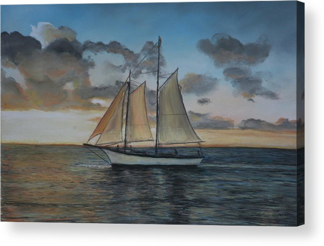Ship Acrylic Print featuring the painting Sunset Sail by Charlotte Yealey