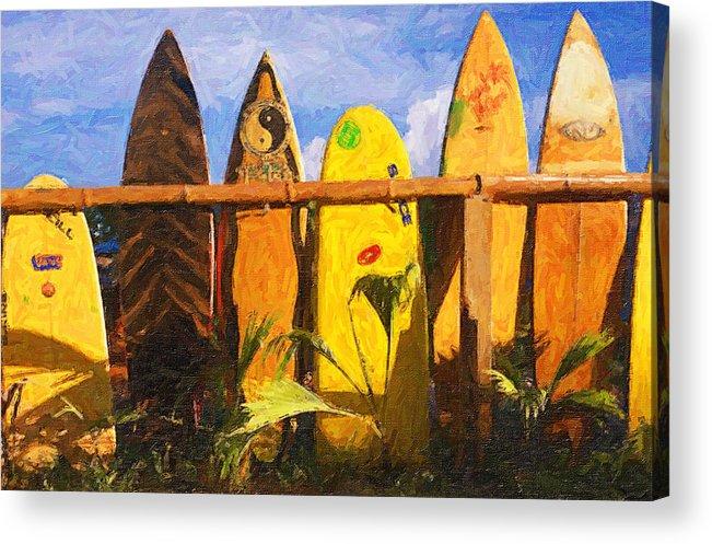 Surfboard Gardern Acrylic Print featuring the photograph Surfboard Garden by Ron Regalado