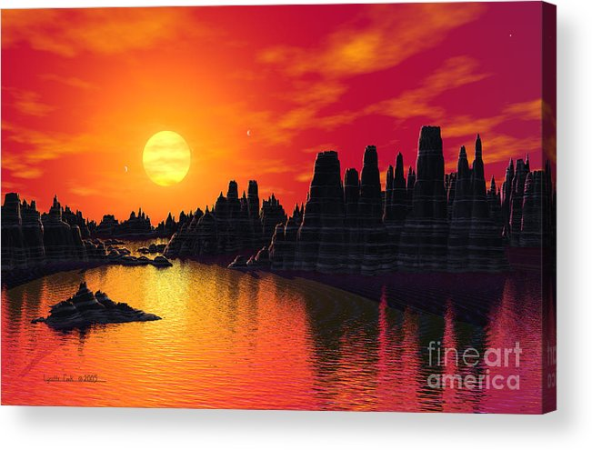 Lynette Cook Acrylic Print featuring the painting Terrestrial Planet At 55 Cancri by Lynette Cook