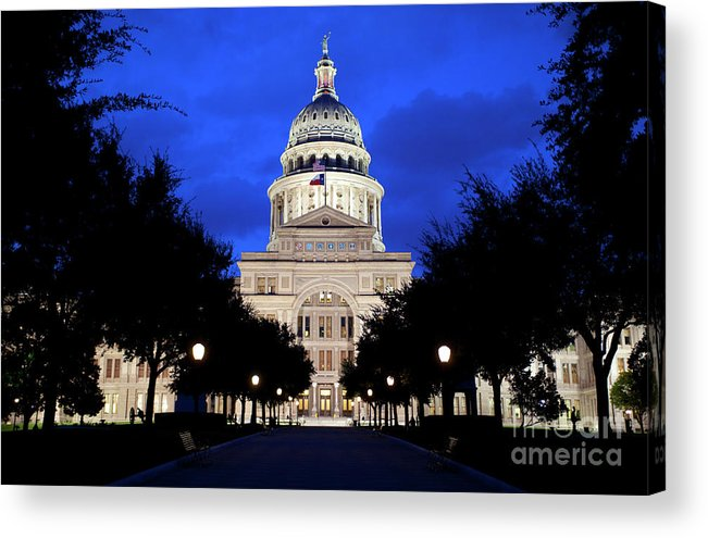 Texas State Capitol Acrylic Print featuring the photograph Texas State Capitol Floodlit At Night, Austin, Texas - Stock Image by Austin Welcome Center