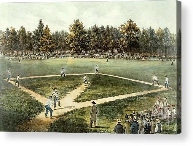 The Acrylic Print featuring the painting The American National Game Of Baseball Grand Match At Elysian Fields by Currier and Ives