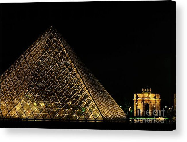 Arc De Triomphe Du Carrousel Acrylic Print featuring the photograph The Louvre Pyramid And The Arc De Triomphe Du Carrousel At Night by Sami Sarkis