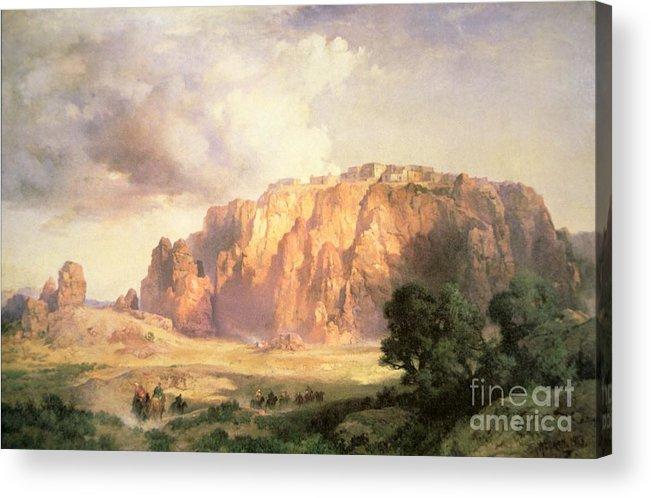 The Pueblo Of Acoma Acrylic Print featuring the painting The Pueblo Of Acoma In New Mexico by Thomas Moran